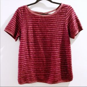 "LOFT ""Garland"" Stripe Festive Holiday Maroon Top"